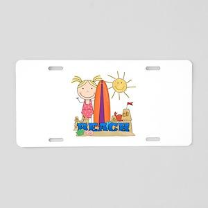 Blond Girl at Beach Aluminum License Plate