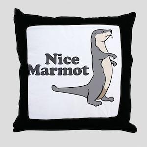 Nice Marmot Throw Pillow