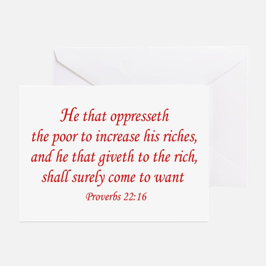 Proverbs 22:16 Greeting Cards (Pk of 10)
