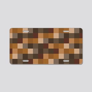 Brown Pixelated Pattern | G Aluminum License Plate