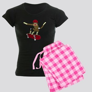 Sock Monkey Skateboarder Women's Dark Pajamas