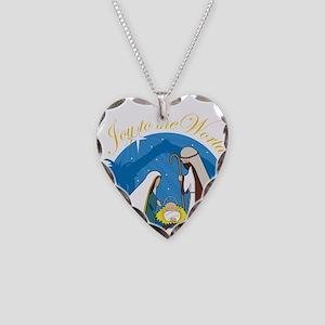 Nativity Scene Necklace Heart Charm