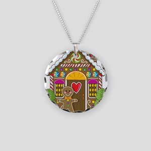 Gingerbread House Necklace Circle Charm
