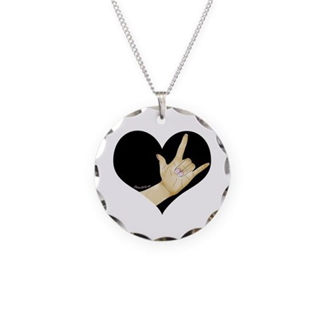 ASL - I LOVE YOU Necklace Circle Charm