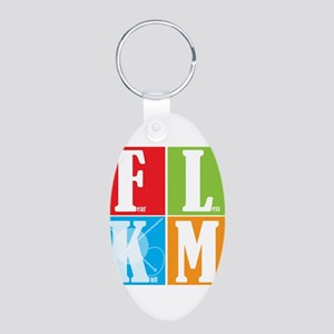 Fear Less KNIT More! Aluminum Oval Keychain