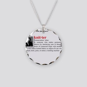 Definition of a Knitter Necklace Circle Charm