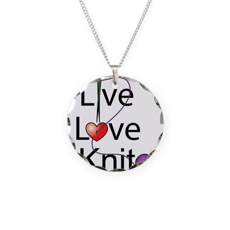 Live Love KNIT Necklace Circle Charm