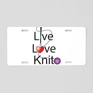 Live Love KNIT Aluminum License Plate