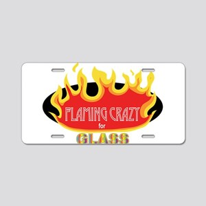 Flaming Crazy for Glass Aluminum License Plate