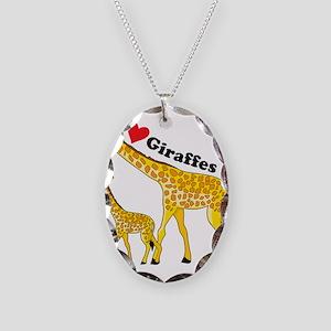 I Love Giraffes Necklace Oval Charm