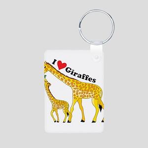 I Love Giraffes Aluminum Photo Keychain