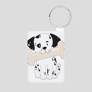 Dalmatian with Bone Aluminum Photo Keychain