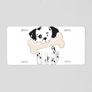 Dalmatian with Bone Aluminum License Plate