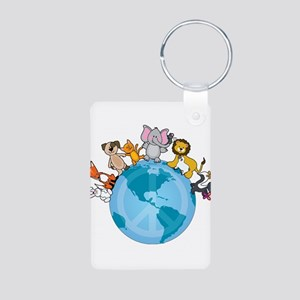 Peace on Earth Animals Aluminum Photo Keychain