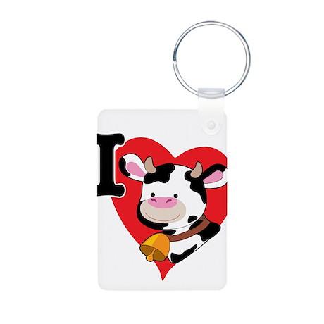 I Love Cows Aluminum Photo Keychain