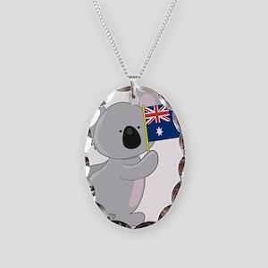 Koala Australian Flag Necklace Oval Charm
