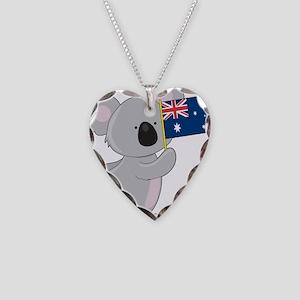 Koala Australian Flag Necklace Heart Charm