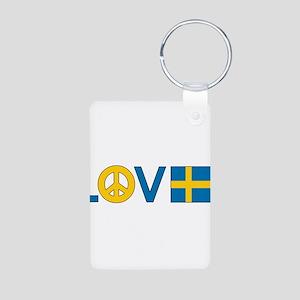 Love Peace Sweden Aluminum Photo Keychain