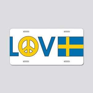 Love Peace Sweden Aluminum License Plate