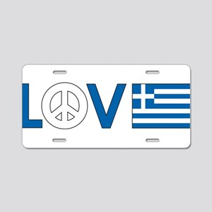 Love Peace Greece Aluminum License Plate