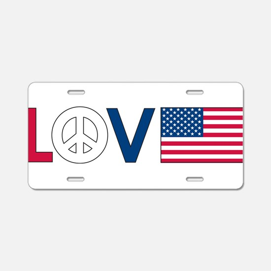 Love Peace America Aluminum License Plate