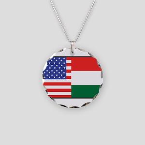 USA/Hungary Necklace Circle Charm