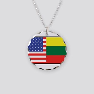 USA/Lithuania Necklace Circle Charm