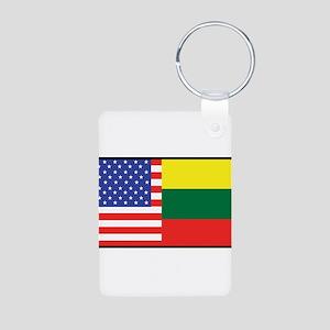 USA/Lithuania Aluminum Photo Keychain