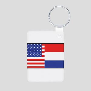 USA/Holland Aluminum Photo Keychain