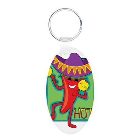 Mexican Chili Aluminum Oval Keychain