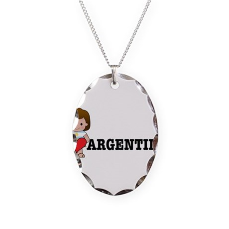 I Love Argentina Necklace Oval Charm