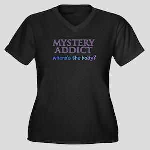 Mystery Women's Plus Size V-Neck Dark T-Shirt