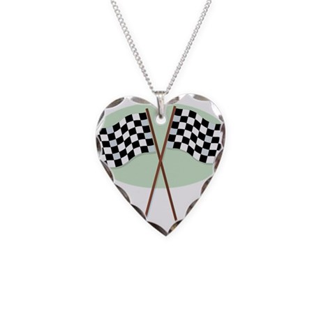 Racing Flags Necklace Heart Charm