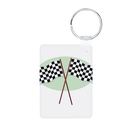 Racing Flags Aluminum Photo Keychain