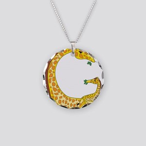 Animal Alphabet Giraffe Necklace Circle Charm