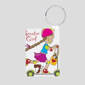 Scooter Girl Aluminum Photo Keychain
