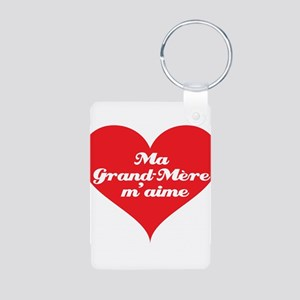 Grandma Loves Me (French) Aluminum Photo Keychain