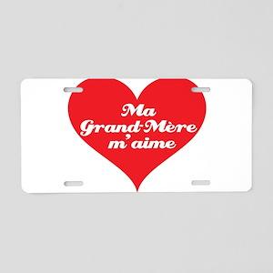Grandma Loves Me (French) Aluminum License Plate
