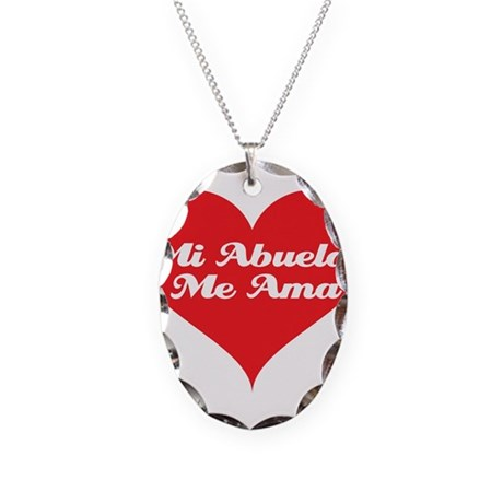 Grandma Loves Me (Spanish) Necklace Oval Charm