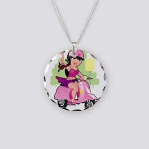 Dainty Scooter Girl Necklace Circle Charm