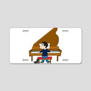 Piano Player and Dog Aluminum License Plate