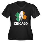 Irish Chicago Women's Plus Size V-Neck Dark T-Shir
