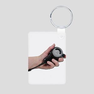 Holding Microphone Aluminum Photo Keychain