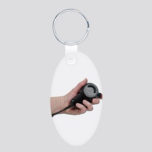 Holding Microphone Aluminum Oval Keychain
