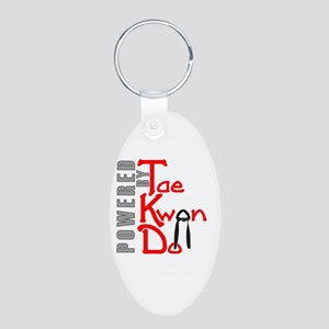 Powered by Tae Kwon Do Aluminum Oval Keychain