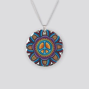 Hippie Peace Flower Necklace Circle Charm
