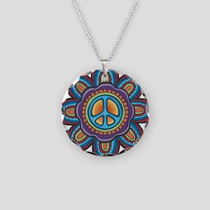 Hippie Peace Flower Necklace Circle Charm