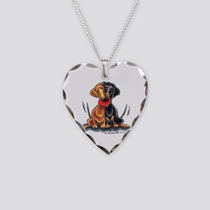 Smooth Dachshund Lover Necklace Heart Charm
