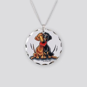 Smooth Dachshund Lover Necklace Circle Charm