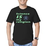 Science IS my religion. Men's Fitted T-Shirt (dark